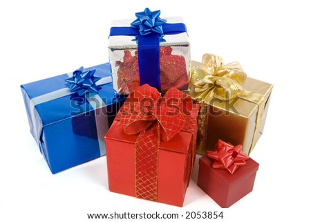 many varicolored gifts isolated on white - stock photo