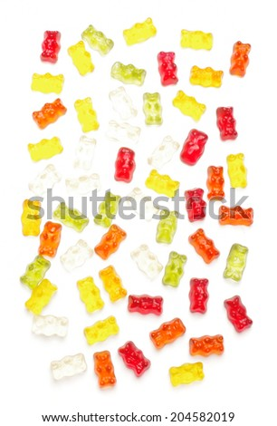 Many various jelly bears isolated on the white background