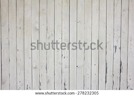 many vertical beige wooden planks with nails and peeling old paint, texture - stock photo