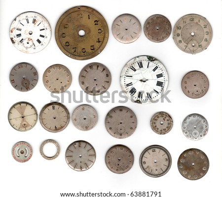 many vintage pocket watch dial only over white background