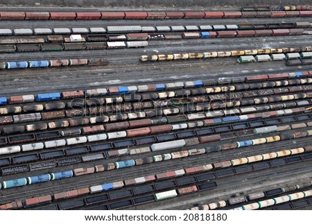 Many wagons and trains. Aerial view. Railway transport in Russia. - stock photo