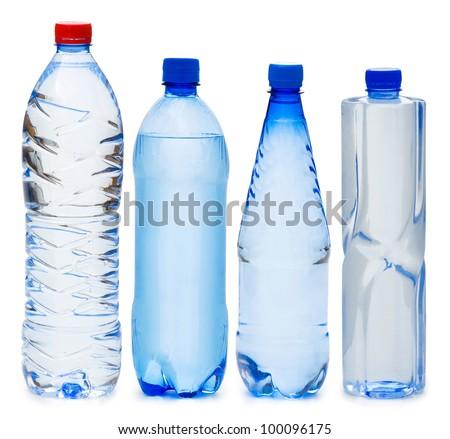 Many water bottles isolated on white - stock photo