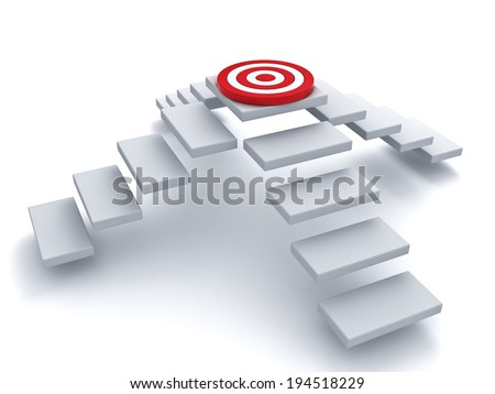 Many ways to step up to the goal target business concept over white background - stock photo