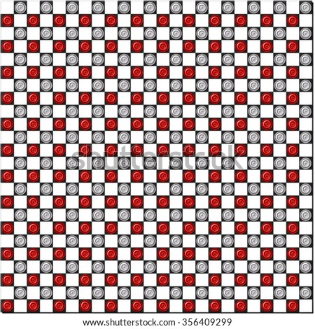 Many white and red checkers on big chessboard - stock photo