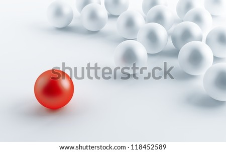 many white balls and one contrasting red