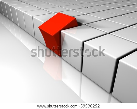 Many white cubes arranged in equal rows, a different one is red - stock photo
