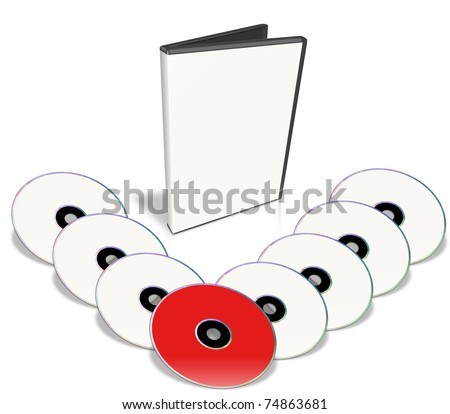 Many White DVD's, Only One Red. Multimedia disks and DVD Case. Isolated on white. - stock photo