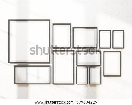 Many white frames on wall. Concept of exhibition. Mock up. 3D rendering
