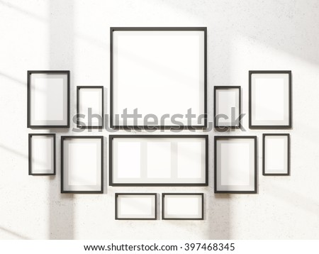 Many white frames on wall, symmetrical. Concept of exhibition. Mock up. 3D rendering