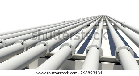Many white industrial pipes stretching into distance. Isolated on white background. Industrial concept