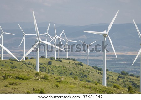 many windmills in a hill - stock photo