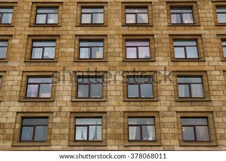 Apartment Building Front old gdr building facade plattenbau berlin stock photo 425041390