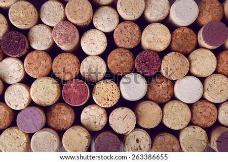 Many wine corks, macro view - stock photo