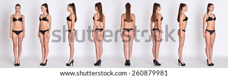 Many woman figures  fill length from all angles in black underwear in studio with grey background. Not object.