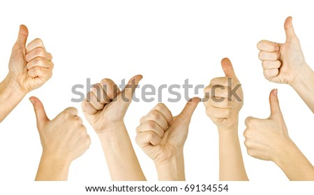Many woman's hand lifted up on white background - stock photo