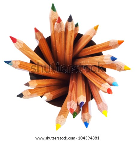 many wooden colored pencils with white background