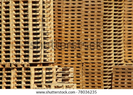 many wooden pallet store on factory yard - stock photo