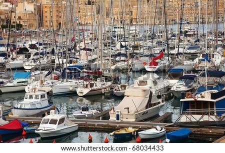 Many yachts  lying at Dockyard Creek. Malta - stock photo