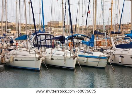 Many yachts lying at Malta harbour, Valletta - stock photo