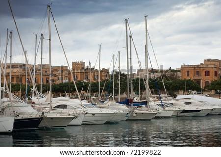 Many yachts  lying at Msida Creek. Malta - stock photo