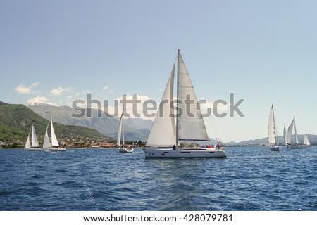 "Many yachts on the water. Tivat, Montenegro - 26 April, 2016 Regatta ""Russian stream"" in God-Katorskaya bay of the Adriatic Sea off the coast of Montenegro. - stock photo"
