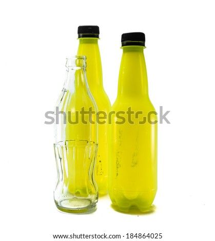 many yellow plastic and glass bottle empty isolate on white background