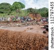 MANYARA, TANZANIA - NOVEMBER 28: The catastrophic debris flow destroyed a road between national parks Manyara and Ngorongoro. Car traffic was restored on the same day, on November 28, 2011 in Tanzania - stock photo