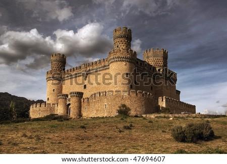 Manzanares el Real Castle (Spain), build in the 15th. century - stock photo