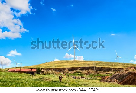 Manzhouli, Autonomous Region, Inner Mongolia, China - August 24, 2015 : Windmills for electric power production
