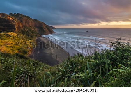 Maori Bay, Muriwai - stock photo