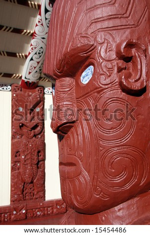 Maori Carving - Maori Culture in New Zealand - stock photo