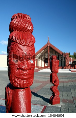 Maori Carving - Maori Culture in New Zealand - stock photo