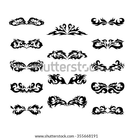Maori tribal tattoo - Set of  different tribal tattoo in polynesian style. Celtic ornaments in traditional medieval style for ethnic embellishment and tattoo design. - stock photo