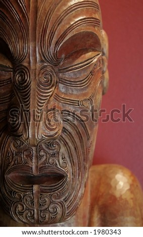 Maori wood carving from New Zealand - stock photo