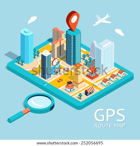 Map a small town on the tablet with the specified destination point. GPS route map. City navigation app - stock photo