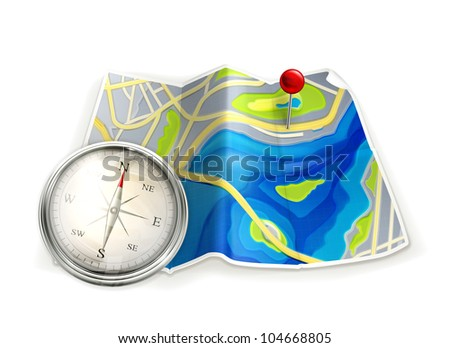 Map and compass, bitmap copy - stock photo