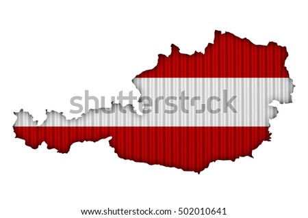Map and flag of Austria on corrugated iron