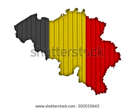 Map and flag of Belgium on corrugated iron