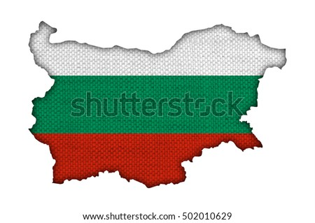 Map and flag of Bulgaria on old linen