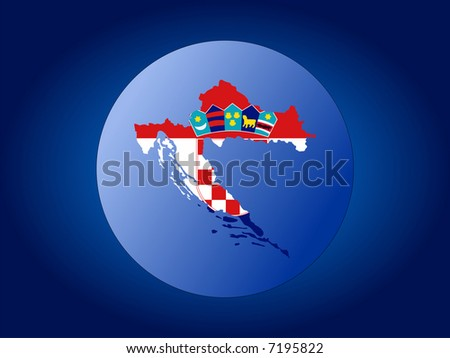 Map and flag of Croatia globe illustration JPG
