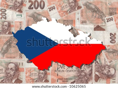 map and flag of czech republic with collage of currency ilration