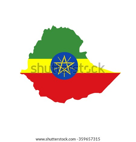 Map and flag of Ethiopia - stock photo
