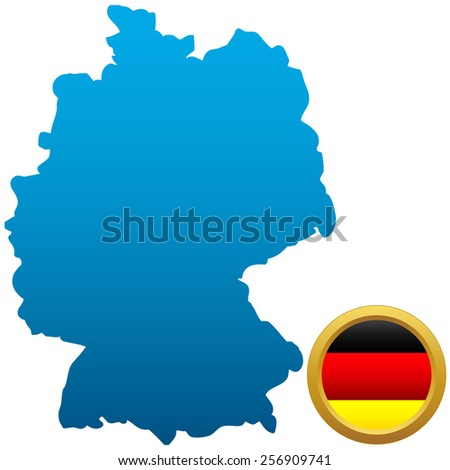 Map and flag of Germany on a white background - stock photo