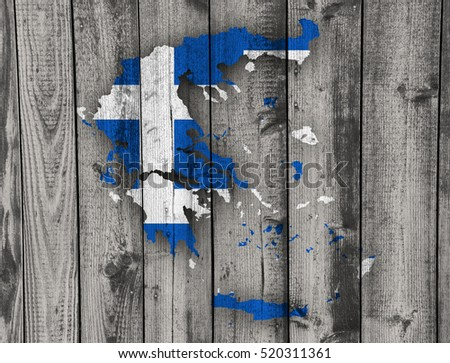 Map and flag of Greece on weathered wood