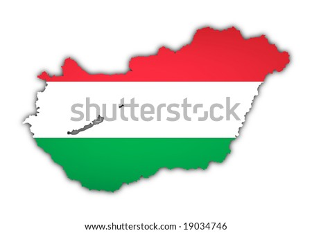 map and flag of hungary on white background
