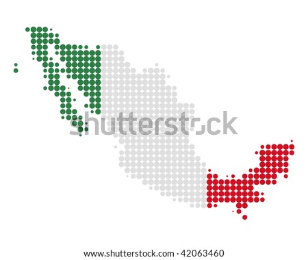 Map and flag of Mexico - stock photo