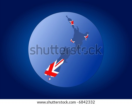 map and flag of New Zealand globe illustration JPG