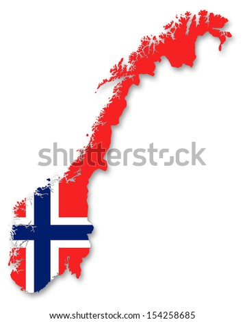 Map and flag of Norway - stock photo