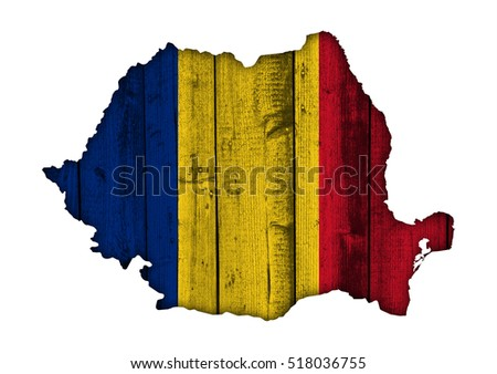 Map and flag of Romania on weathered wood