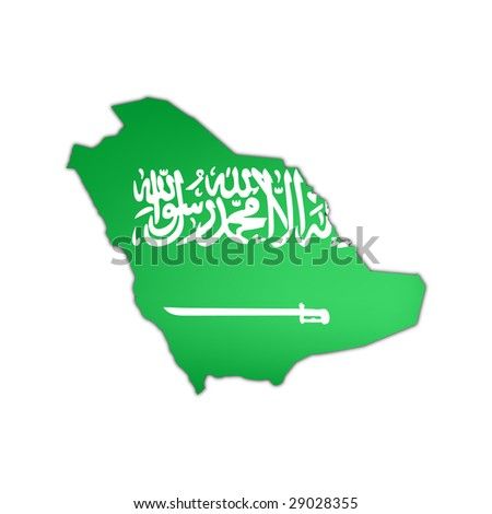 map and flag of saudi arabia with black shadow on white background